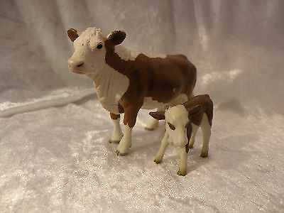 Schleich Farm World Hereford Cow & Calf Very Nice Condition Rare
