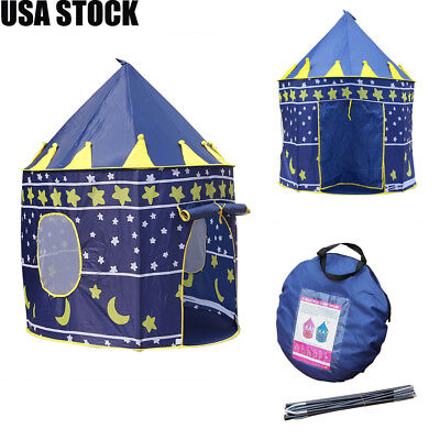 Portable Folding Pop Up Kids Play Tent Pink Boys Girls Castle Fun Playhouse