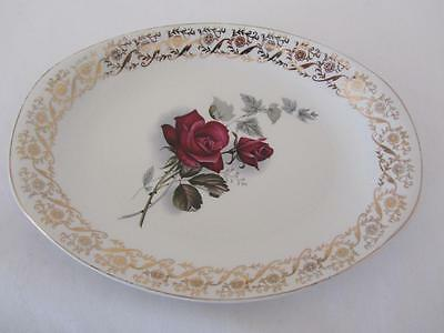 British Anchor Staffordshire Hostess Oval Serving Plate Red Rose