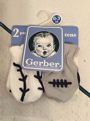 New in Package Gerber 0-3 month Infant Mittens Pack of 2 with Sports Theme