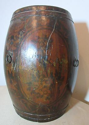 large antique hand made painted Chinese wood wrought iron bucket barrel basket
