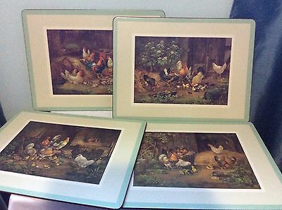 Pimpernel Placemats Set of 4 cork Back Farm of roosters hens and chicks Made Eng