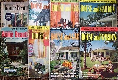 8 VINTAGE HOUSE AND GARDEN & HOME BEAUTIFUL MAGAZINES- 1960's