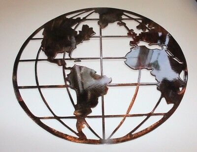 Metal Art World Globe Map Copper/Bronze metal wall art decor 16""
