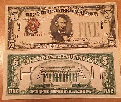 Copy Reproduction 1934 $5 Hawaii WWII US Currency Paper Money Printing Error