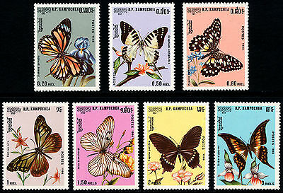 CAMBODGE Kampuchea N°632/638** Papillons,1986 CAMBODIA  Butterfly Sc#691-697 MNH