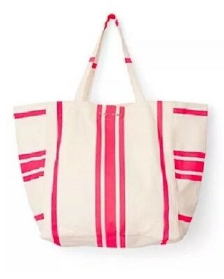 NEW~ VICTORIA'S SECRET Sun & Fun Pink Striped Canvas Beach Tote Bag Large Swim