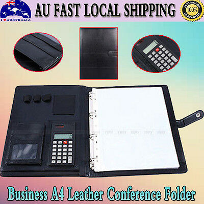 Portable PU Leather Business A4 Executive Conference Folder Portfolio Papers NEW