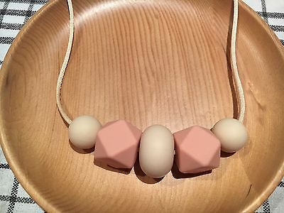 Silicone Sensory (was teething) Necklace for Mum Jewellery Beads Aus Gift peach