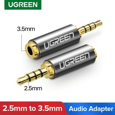 2.5mm Male to 3.5mm Female Audio Adapter Aux GOLD PREMIUM HIGH QUALITY UGREEN