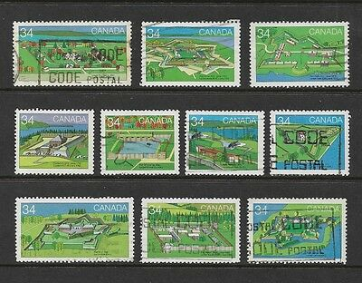CANADA - 1985 Canada Day, Forts, 2nd series, set of 10, used
