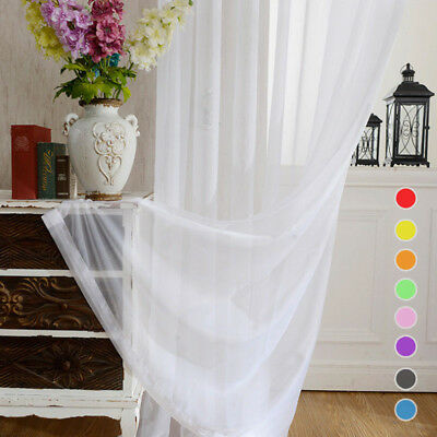 Solid White Sheer Curtains Rod Pocket Simple Voile Organdy Tulle Divider 1 Piece