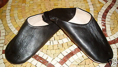 VERY SOFT LEATHER SLIPPERS / MULES * BLACK size 8/42