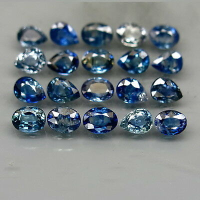 Oval&Pear 4x3 mm.Heated Only! Natural Blue Sapphire Africa 20Pcs/4.40Ct.