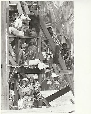ENGLAND WEST INDIES Barbados Test 1981 black & white cricket press photograph...