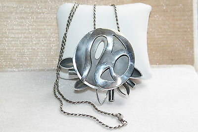 Large Vintage Abstract Modernist Pierced Sterling Silver Pendant Chain Necklace