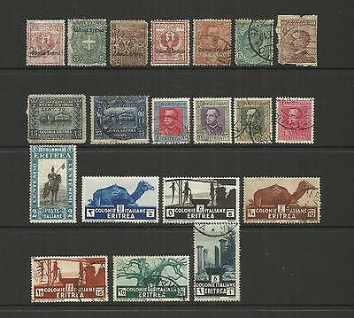 Eritrea (Italy)  ~ 1893-1933 Definitives (Part Sets) Faults