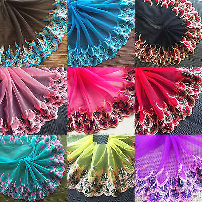 Peacock Feather Embroidery Lace Trims Edge Tulle Fabric Vintage Scalloped Sewing