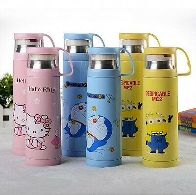 Kid Cartoon Thermos Flask Travel Water Bottles Stainless Steel Insulated Mug Cup