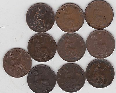 10 Victorian Farthings Dated 1860 To 1901 In Good Fine Or Better Condition