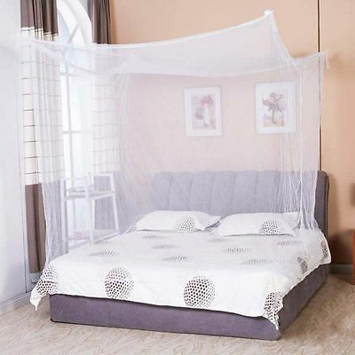 AU Princess Lace Mosquito Net Canopy Bed Curtain 4 Corners Insect Stop Full Size
