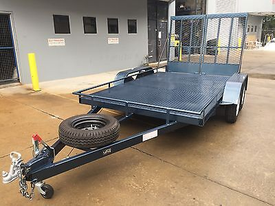 BRAND NEW heavy duty Car Trailer Tandem axle WITH loading RAMPS 12FT 2T MOWERS
