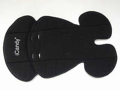 Genuine iCandy FLEECE SEAT LINER Cover Black fits Apple Peach Pear Cherry
