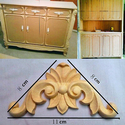 4X Wood Carved Applique Frame Onlay Furniture Art Carving Decor Craft Unpainted