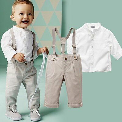 Kids Boys Long Sleeve Tops + Long Trousers Cotton Outfits Clothes Set 2 Pcs New