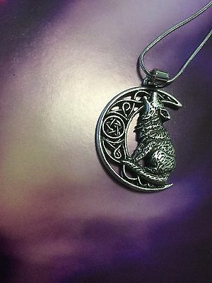 Pendant Necklace Wolf Moon Spell Witch Goth Pagan Crystal
