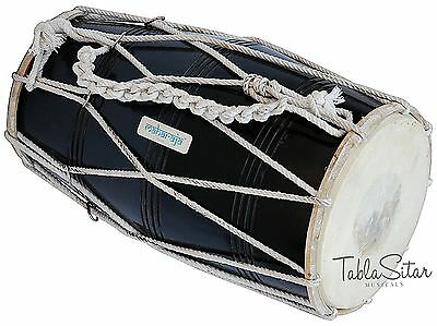 Dholak , Mango Wood, Rope tuned, Black Color made hand by Handmade