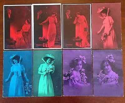 Rare Victorian Collectable Postcards - Early attempts at colour effects.