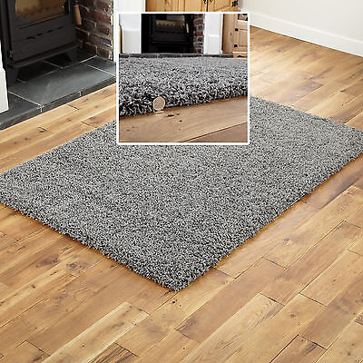 SMALL TO LARGE 5CM THICK PILE LUXURIOUS DARK GREY SOFT 60x120 MODERN SHAGGY RUGS