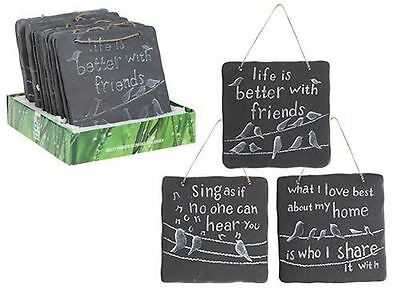 PACK OF 3 Assorted Hanging Garden SENTIMENT PLAQUE Sign Decorations