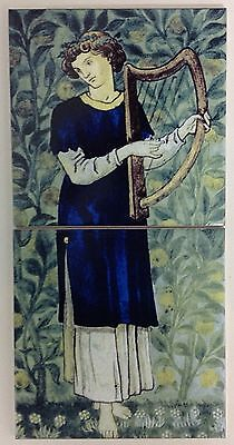 Minstrels William Morris Harp 2 Tile Panel Kiln Fired Bathroom Kitchen Fireplace