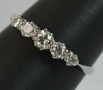 1930's Art Deco 18ct White Gold & Platinum Five Diamond Ring d0870