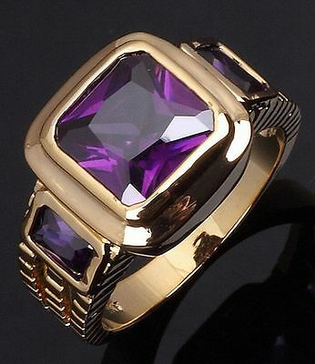 18K GOLD EP 2.5CT AMETHYST EMERALD CUT MENS RING size 8-12 YOU CHOOSE