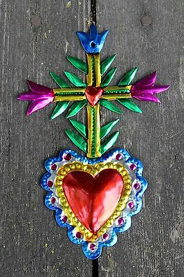 Mexican Tin Milagro Ornament Heart & Cross Love Token! Hand made Folk Art Oaxaca