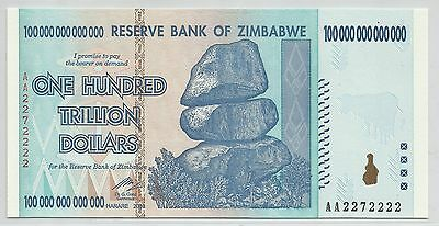 [solid 2272222 ] Zimbabwe 100 trillion p91 prefix AA fancy serial number UNC