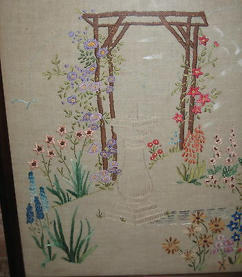 Antique vintage victorian style fire screen  - hand embroidered