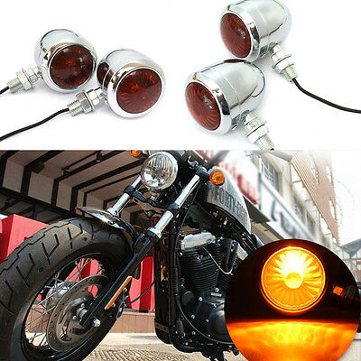 4 x Metal Chrome Motorcycle Turn Signal Indicator Light amber For Harley Chopper