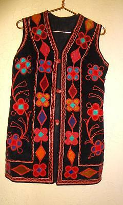 VTG  Festival Hippie Boho SUEDE APPLIQUE  SLEEVELESS  VEST ethnic tribal  S / M