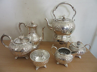 Antique Cooper Bros & Son SHEFFIELD hand chased large silver plate tea service