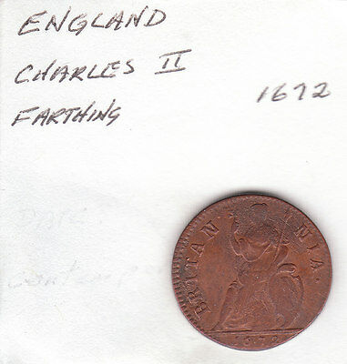 1672 Charles II  British US Colonial Farthing Copper Coin.