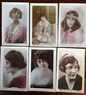 6 x Rare Edwardian / Victorian Collectable Postcards of hollywood film stars