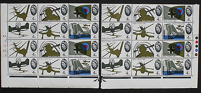GB 1965 Battle of Britain (Ord). 4d cylinder 2A. and Traffic Light Blocks MNH.