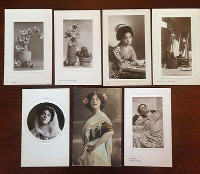 7x Rare Edwardian / Victorian Collectable Postcards, including Japonese women