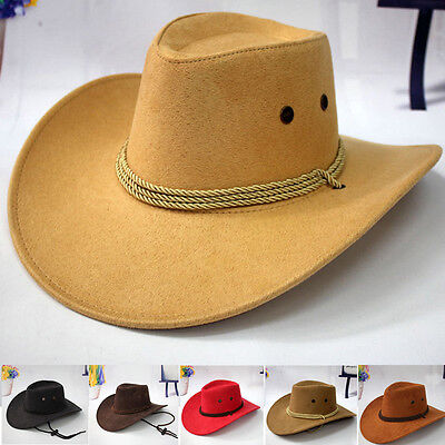 AU Western Cowboy Hat Men Riding Cap Fashion Accessory Wide Brim Country