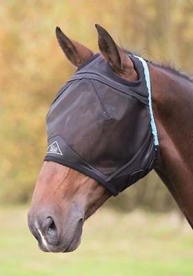 Shires Fine Mesh Fly Mask With Ear Holes - Black - 6663