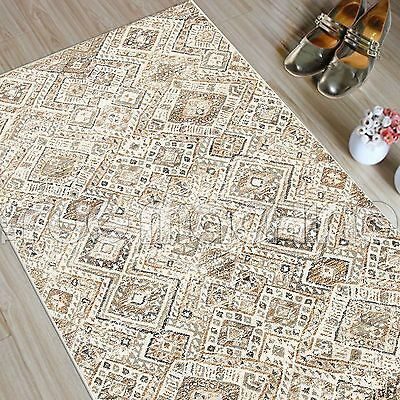 MADELYN BONE BEIGE DIAMOND FADED TRIBAL POWER LOOMED RUG RUNNER 80x300cm **NEW**